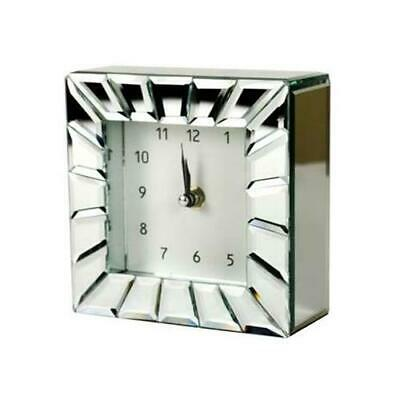Small Metal Clock Mirrored Mantle Square Chrome Silver Free Standing Desk Table