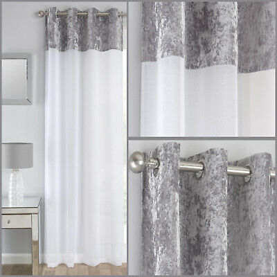 Silver Grey Crushed Velvet Band Voile Net Panels Curtain Eyelet Ring Top Panel