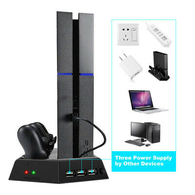 PS4 PRO Cooling Stand Radiator Dual Charging Stations Dock Cooler Fan USB Ports
