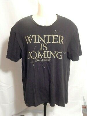 WINTER IS COMING black T-Shirt Men's L  (Game Of Thrones HBO Official)