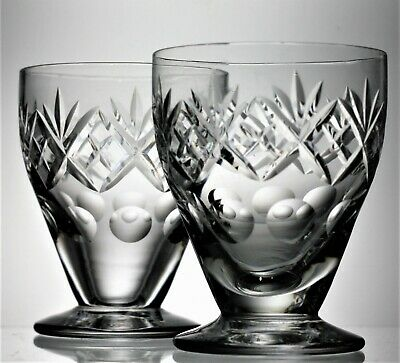Pair Unsigned Royal Doulton Lead Crystal GEORGIAN Cut Oyster Cocktail Glasses