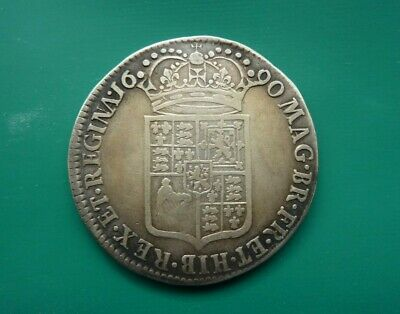 Very Scarce - 1690 (First Busts) William And Mary Silver Half Crown - Gf+