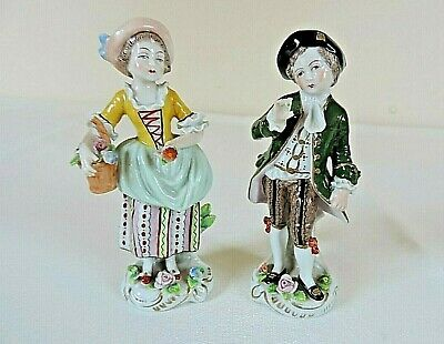 Antique Sitzendorf Figurines Pair Of Small Figurines  c 1884-1901