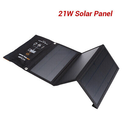Foldable 21W Solar Charger 2 USB Port Sun Power Panel for iPhone Nexus Charging