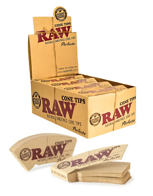 RAW Perfecto Cone Tips - Box 24 PACKS -  Natural Unrefined Pure 32 Tips Per Pack