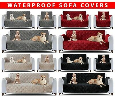 Quilted Sofa Cover Furniture Protector Throw Waterproof Sofa Slip Covers 3 Size