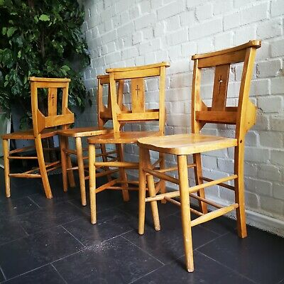 Vintage Chapel Church Chairs with Cross and Book Rack 7 Others Available
