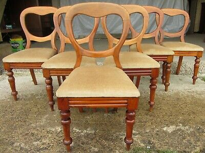 Set of 6 Victorian Walnut balloon back dining chairs (681)