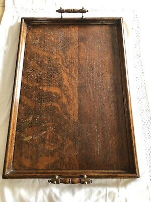 Antique Mahogany & Brass Tray Serving Butler's