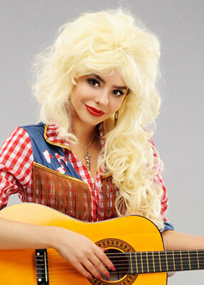 Womens Long Blonde Dolly Parton Style Wig