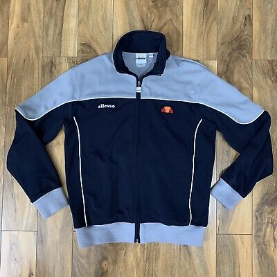 Vintage OG Ellesse Track Jacket Top L Grey Navy