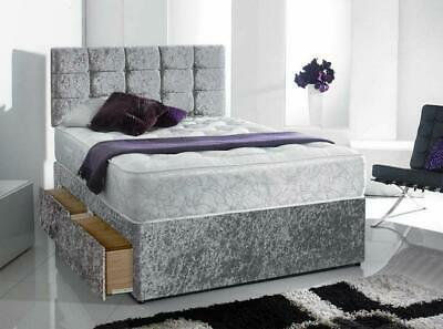 Memory Sprung Crushed Velvet Divan Bed Set With Complimentary Matching Headboard
