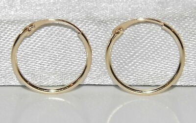 10CT GOLD CHILDREN'S 10mm HINGED SLEEPER HOOP EARRINGS - SOLID 10CT YELLOW GOLD