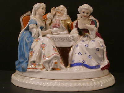 19 c Sevres French Vieux Old Paris Porcelain Figure Group Hidden Inkwell Statue