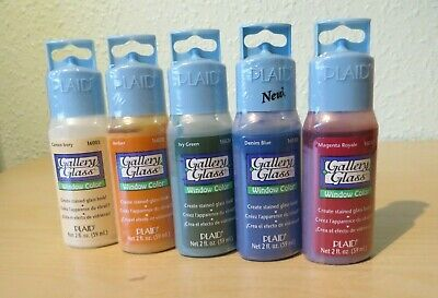 PLAID Gallery Glass Window Color Paint Brights Set - 6 Colours - Brand New (S1)