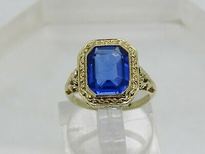 Vintage 10k Yellow Gold Blue Stone Solitaire Filigree Ornate Setting Ring 4.25