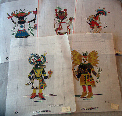 5 Hand Painted Needlepoint Canvas Kachinas Maiden Hoop Dancer Owl Blackogre more