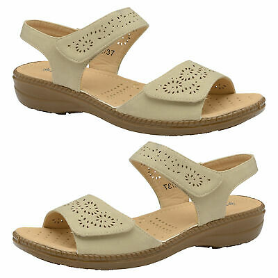 Dunlop Women Low Wedge Adjustable Strap Ladies Cushioned Open Toe Sandals