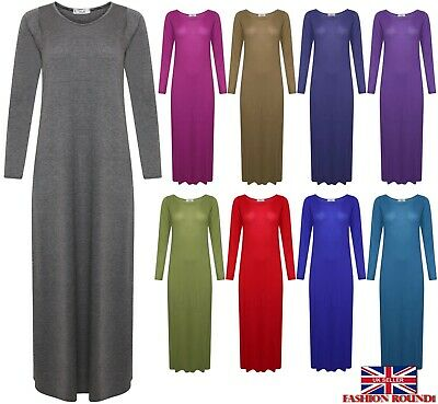 New Women's Ladies Plain Long Sleeves Flared Stretchy Maxi Dress Plus Size 8-26