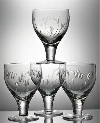 Quality Set of 4 Signed STUART Lead Crystal ELGIN Cut Glass Water Goblet 210 ml