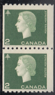 Canada: #406 2c Green Cameo QEII Coil Pair F/VF NH CV$10 *Check out my Store!*