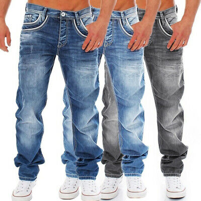 Men's Jeans Biker Pants Fashion Casual Denim Fit Trousers Skinny Ripped Solid