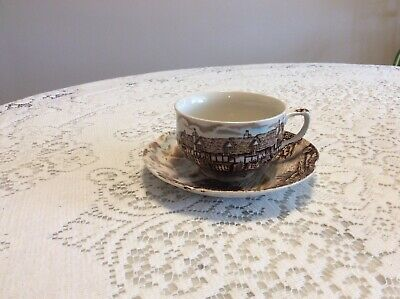Johnson Brothers England Olde English Countryside Cup and Saucer Brown England