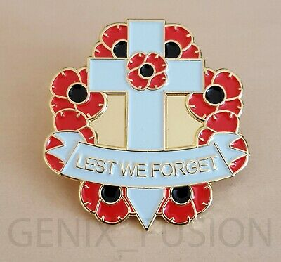 Remembrance Day 2019 Lest We Forget Poppy Cross Wreath Metal Lapel Pin Badge