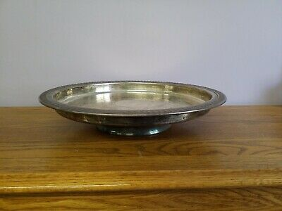 """Vintage Sheridan Silver-plated Footed Tray Lazy Susan 14.5""""wide  1"""" Deep 3"""" tall"""