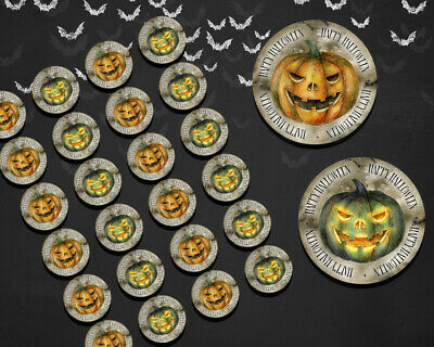 Happy Halloween Pumpkin Stickers labels Trick or Treat Gift Party Favours Bags