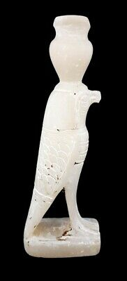 Beautiful Egyptian Horus Statue Rare Figurine Falcon Bead Alabaster Sculpture