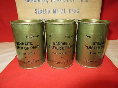 BANDAGES WWII  1945  PLASTER IN A SEALED CAN COLLECTABLE 1 CASE OF 12 CANS