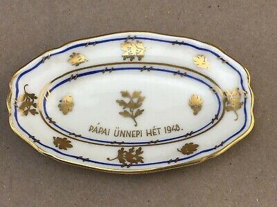 Herend Hungary Porcelain Trinket Dish Papal Holiday Week 1948 Pope Pius XII