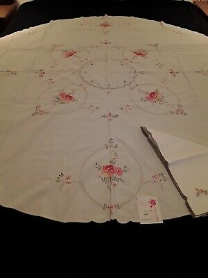 Vintage ROUND Tablecloth +6 Napkins Pink Floral Embroidery Linen w/tag 7 pc. Set