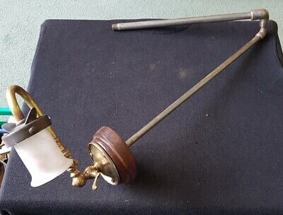 ANTIQUE VICTORIAN BRASS GAS WALL LAMP WITH SHADE and valve