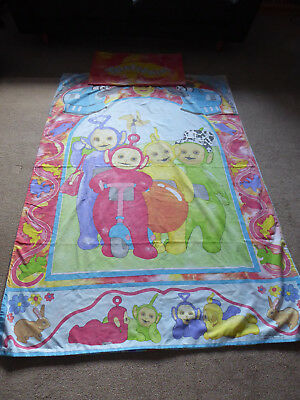 Childrens TV Teletubbies Single Duvet Cover and Pillow Case Vintage 1996 Fabric