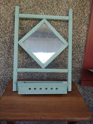 antique primitive antique wood hanging wall pocket flower box w/ mirror