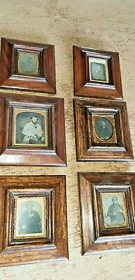 Set Of 6 Early Antique Daguerreotype Photographs 1850s In Antique Frames