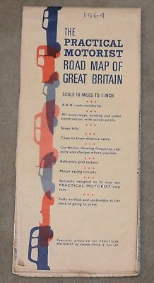 """Vintage Road Map The Practical Motorist Road Map Of Great Britain 10 Miles To 1"""""""