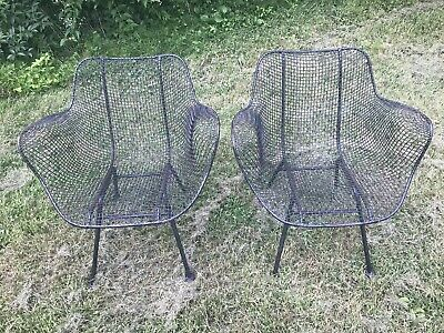 Groovy Pair Of Black Woodard Sculptura Lounge Chairs Mid Century Squirreltailoven Fun Painted Chair Ideas Images Squirreltailovenorg