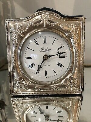 Vintage ENGLISH Sterling Silver LARGE Clock BOWS & GARLANDS Shabby R CARR
