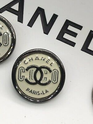 "100%  CHANEL BUTTON METAL 21 mm 0.8"" OFF-WHITE :SILVER  LOGO CC COCO"