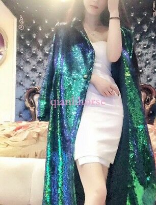 New Women Long Coat Trench Overcoat Handwork Sequins Shiny Jacket Evening Party