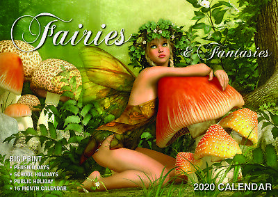 2020 Fairies & Fantasies Big Print Wall Calendar by Bartel BP012