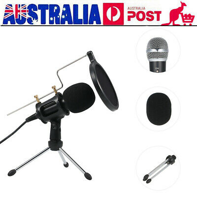 3.5mm Jack Condenser Recording Microphone with Mic Stand for PC Laptop E1X9