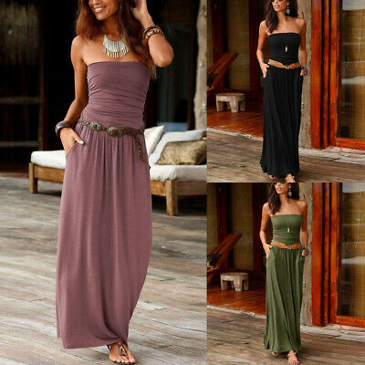 Summer Women's Holiday Off Shoulder Long Dress Ladies Bandeau Solid Maxi Dress