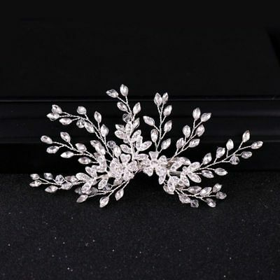 Wedding hair Accessories Crystal Silver Hair piece Leaf Clip Pin Bridal Bride