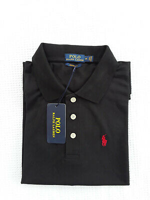New Black Ralph Lauren Polo Shirt 100% Cotton Short Sleeve With Tags