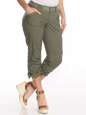 INC International Concepts Womens Curvy-Fit Studded Cargo Pants Olive Size 2