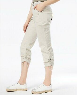 INC International Concepts Womens Curvy-Fit Studded Cargo Pants Toad Beige